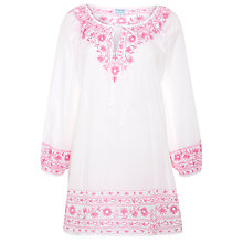 Buy Voyage by Juliet Dunn Embroidered Blouse Kaftan, White/Pink Online at johnlewis.com