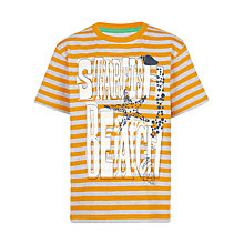 Buy John Lewis Boy Striped Starfish T-Shirt, Orange/Grey Online at johnlewis.com