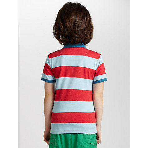 Buy John Lewis Boy Striped Beach Polo Shirt, Red/Blue Online at johnlewis.com