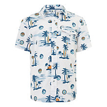 Buy John Lewis Boy Hawaiian Shirt, White/Blue Online at johnlewis.com