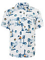 John Lewis Boy Hawaiian Shirt, White/Blue
