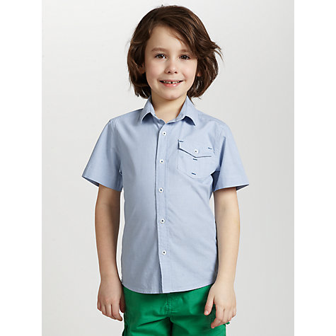 Buy John Lewis Boy Dobby Striped Short Sleeved Shirt, Blue Online at johnlewis.com
