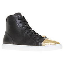Buy Kurt Geiger Lima Metallic Toecap Leather Hi-Top Trainers, Black Online at johnlewis.com