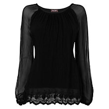Buy Phase Eight Made in Italy Padma Lace Trim Silk Blouse, Black Online at johnlewis.com