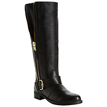 Buy Dune Tammy Gold Side Zip Biker Knee-High Boots, Black Online at johnlewis.com