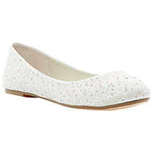 Buy Dune Marthas Diamanté Embellished Satin Ballerina Pumps, Ivory Online at johnlewis.com