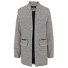 Buy Warehouse Stripe Biker Coat, Navy/Stripe Online at johnlewis.com