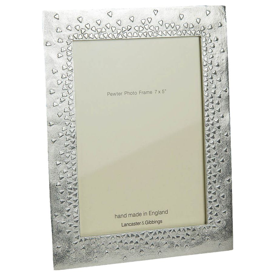 Lancaster and Gibbings Lancaster and Gibbings 'Floating Hearts' Pewter Photo Frame