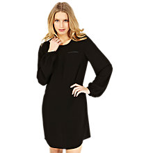 Buy Oasis Leather-Look Trim Dress, Black Online at johnlewis.com
