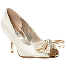 Buy Dune Discover Diamanté Bow Trim Satin Peep-Toe Shoes, Ivory Online at johnlewis.com