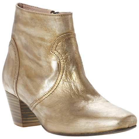 Buy Pied A Terre Ozora Leather Square Toe Ankle Boots, Gold Online at johnlewis.com