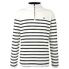 Buy Crew Clothing Stripe Zip Neck Jersey Jumper Online at johnlewis.com