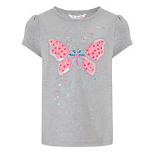 Buy John Lewis Girl Butterfly T-Shirt, Grey Online at johnlewis.com