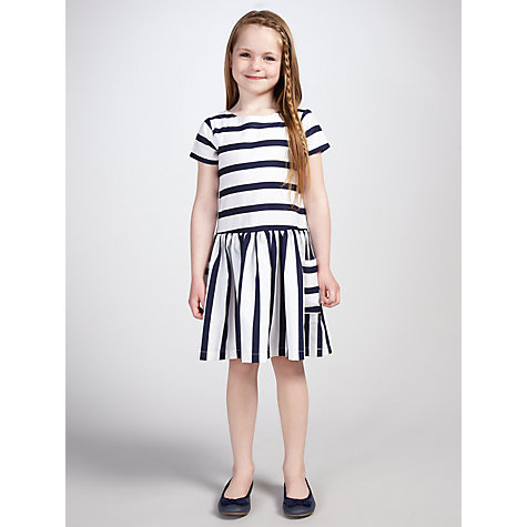 Buy John Lewis Girl Nautical Stripe Dress, Navy Online at johnlewis.com