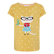 Buy John Lewis Girl Spotted Cat T-Shirt, Yellow Online at johnlewis.com