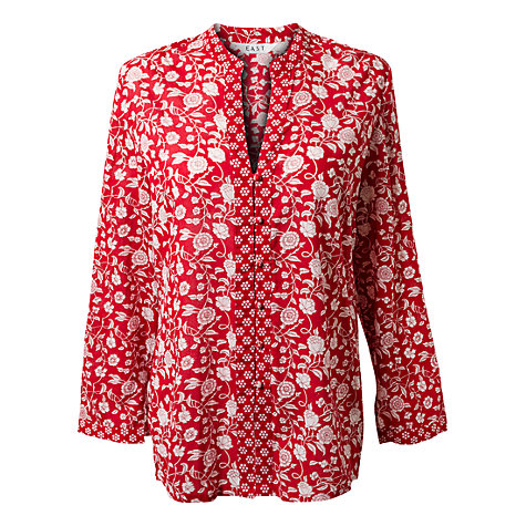 Buy East Carnation Print Tunic, Scarlet Online at johnlewis.com