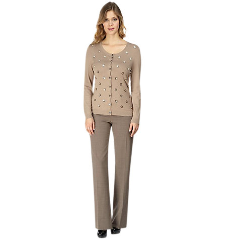 Buy Planet Flower Sequin Cardigan, Light Brown Online at johnlewis.com