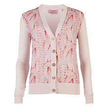 Buy Ted Baker Eviet Stitch Print Cardigan, Strawberry Online at johnlewis.com