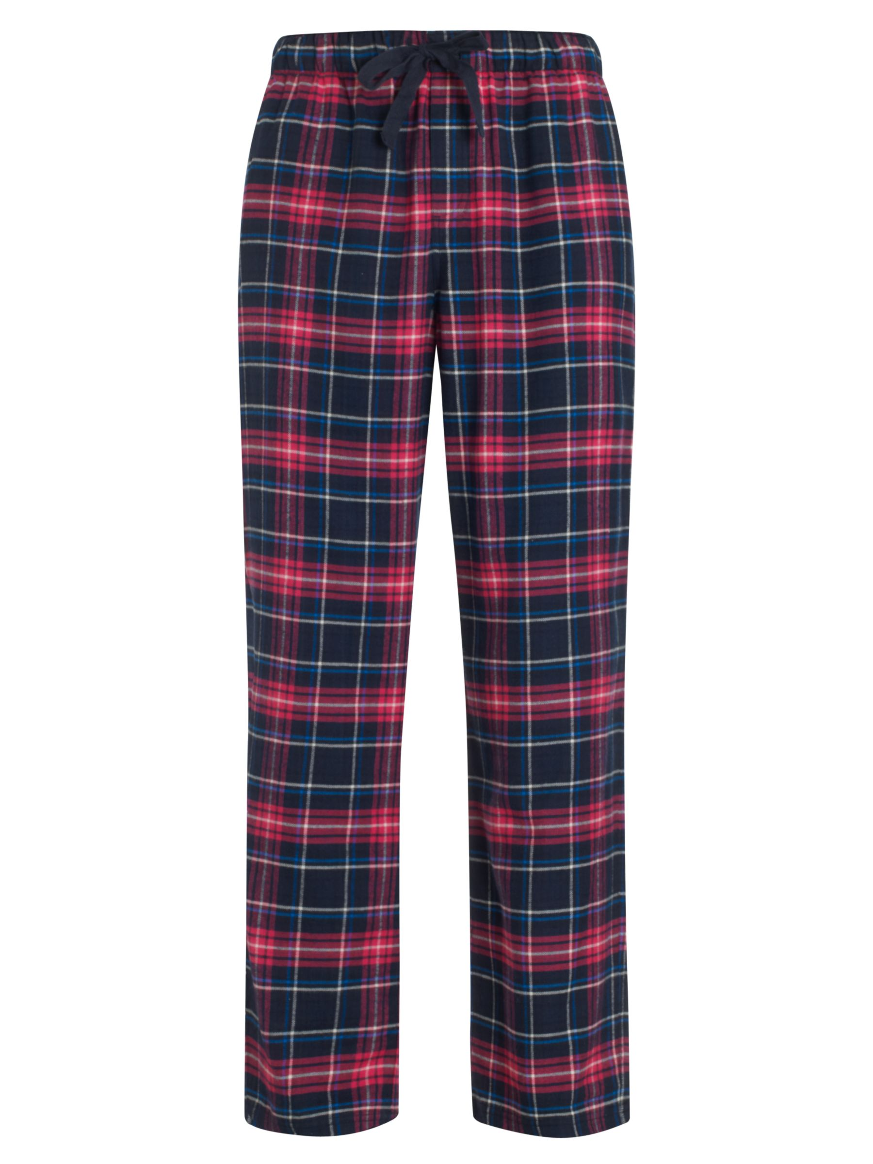 John Lewis Brushed Cotton Cotton Check Pyjama Bottoms, Pink/Blue