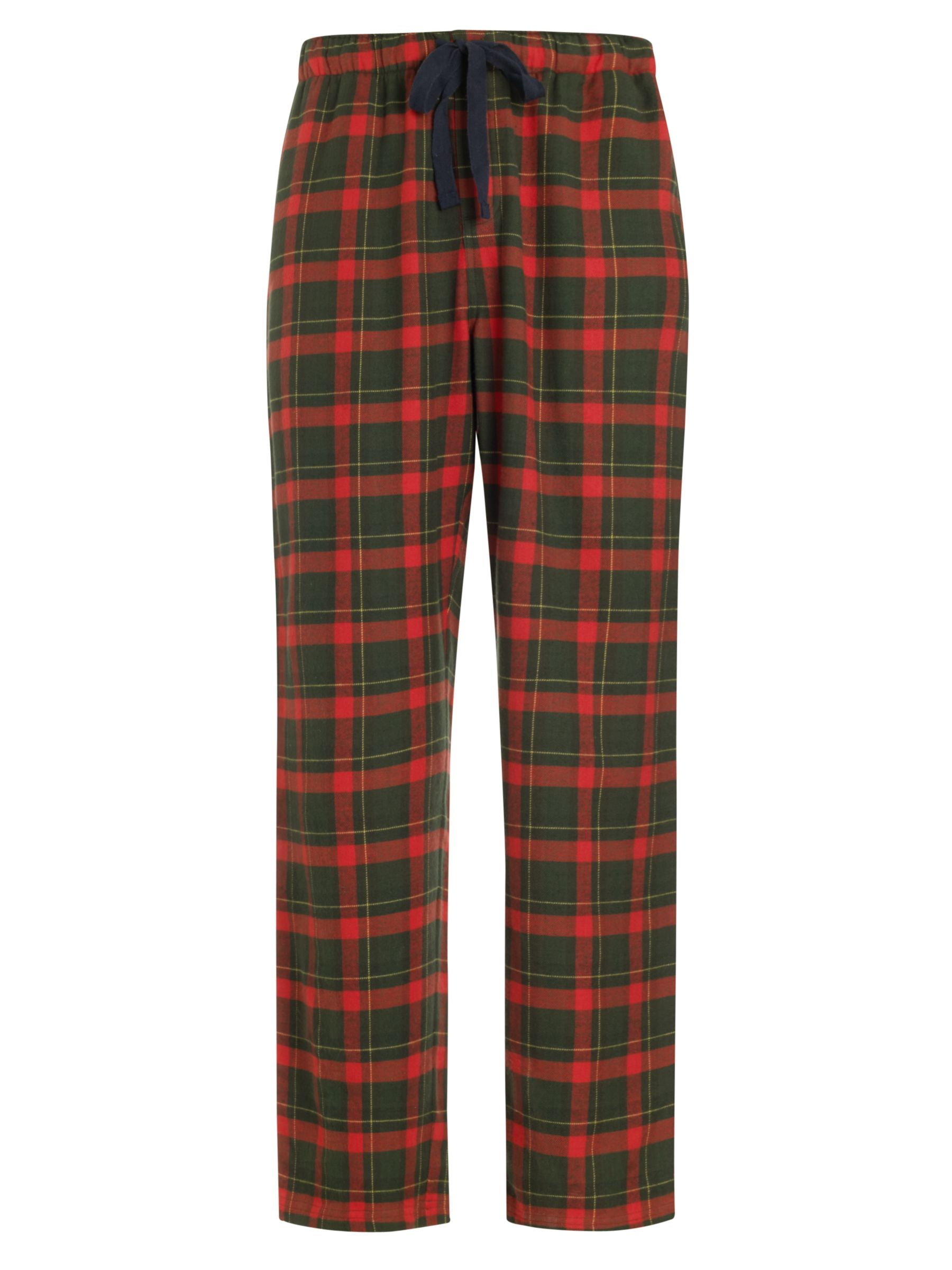 John Lewis Brushed Cotton Cotton Check Pyjama Bottoms, Red/Green