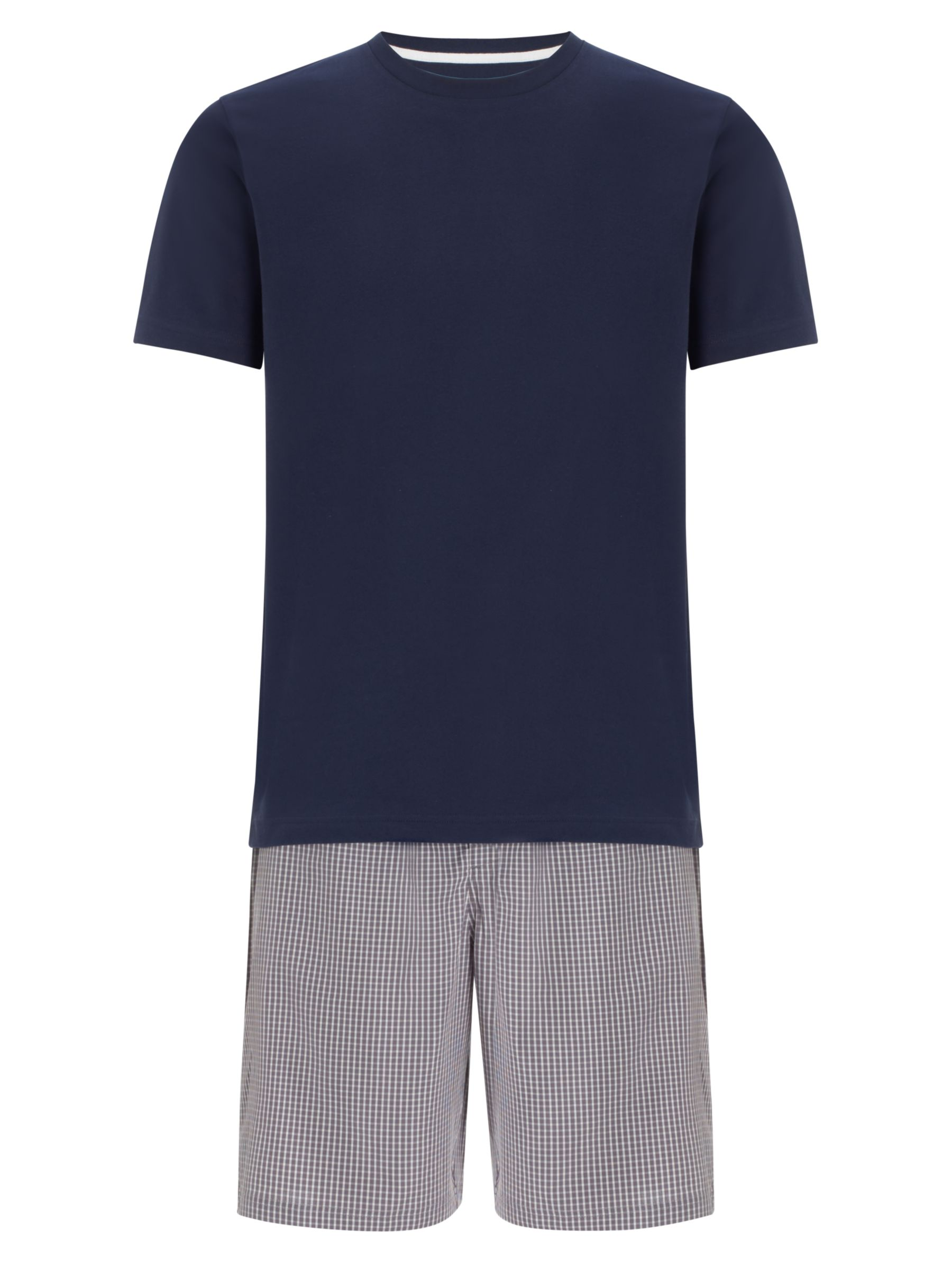 John Lewis Short Sleeve T-Shirt and Gingham Lounge Shorts