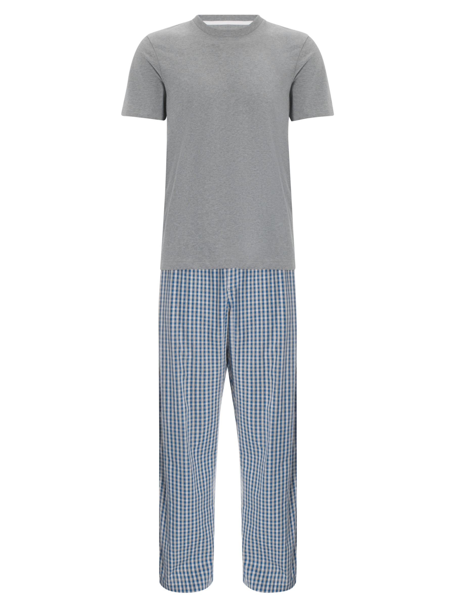 John Lewis Short Sleeve T-Shirt and Gingham Lounge Pants, Blue/Grey