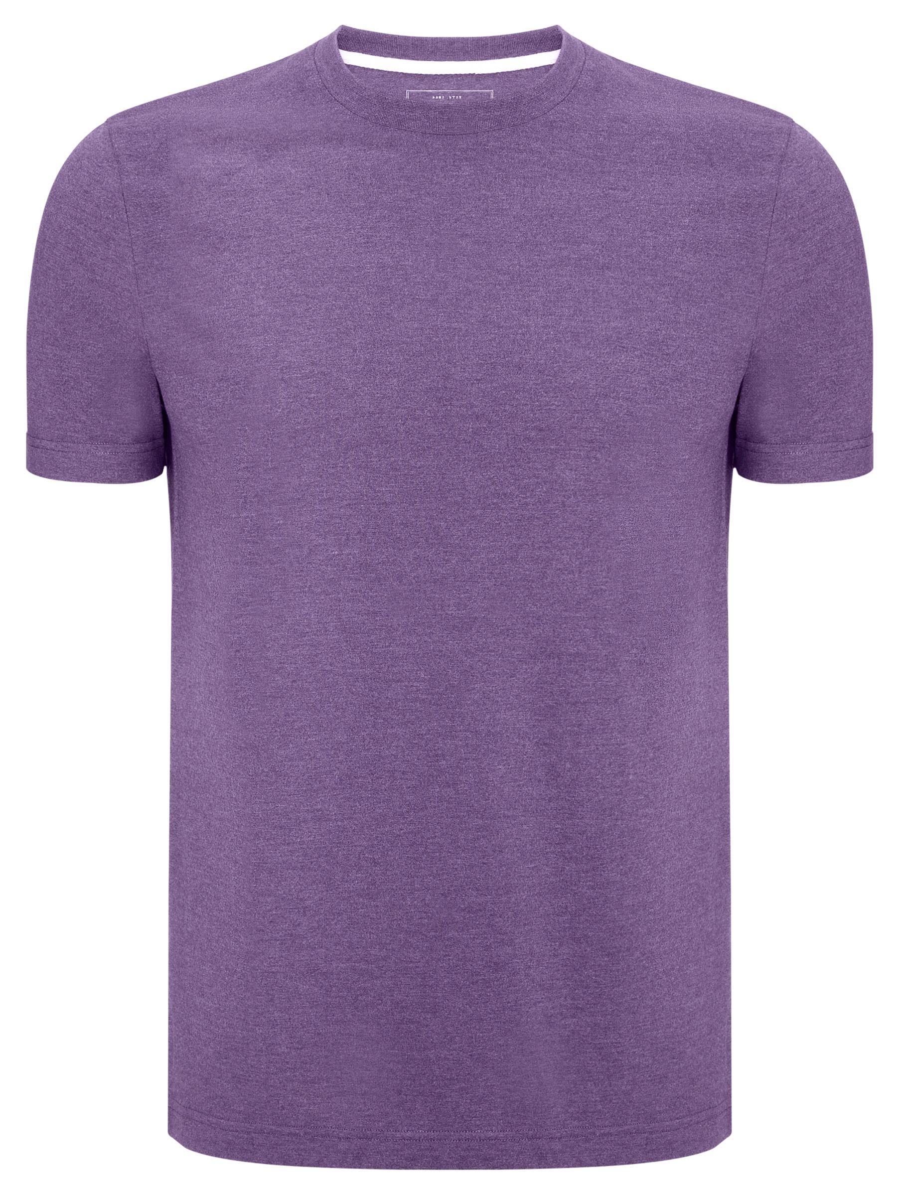 John Lewis Crew Neck Cotton Rich T-Shirt, Purple