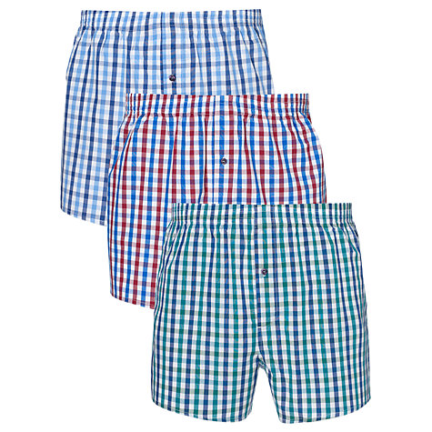 Buy John Lewis Multi Gingham Boxers, Pack of 3 Online at johnlewis.com