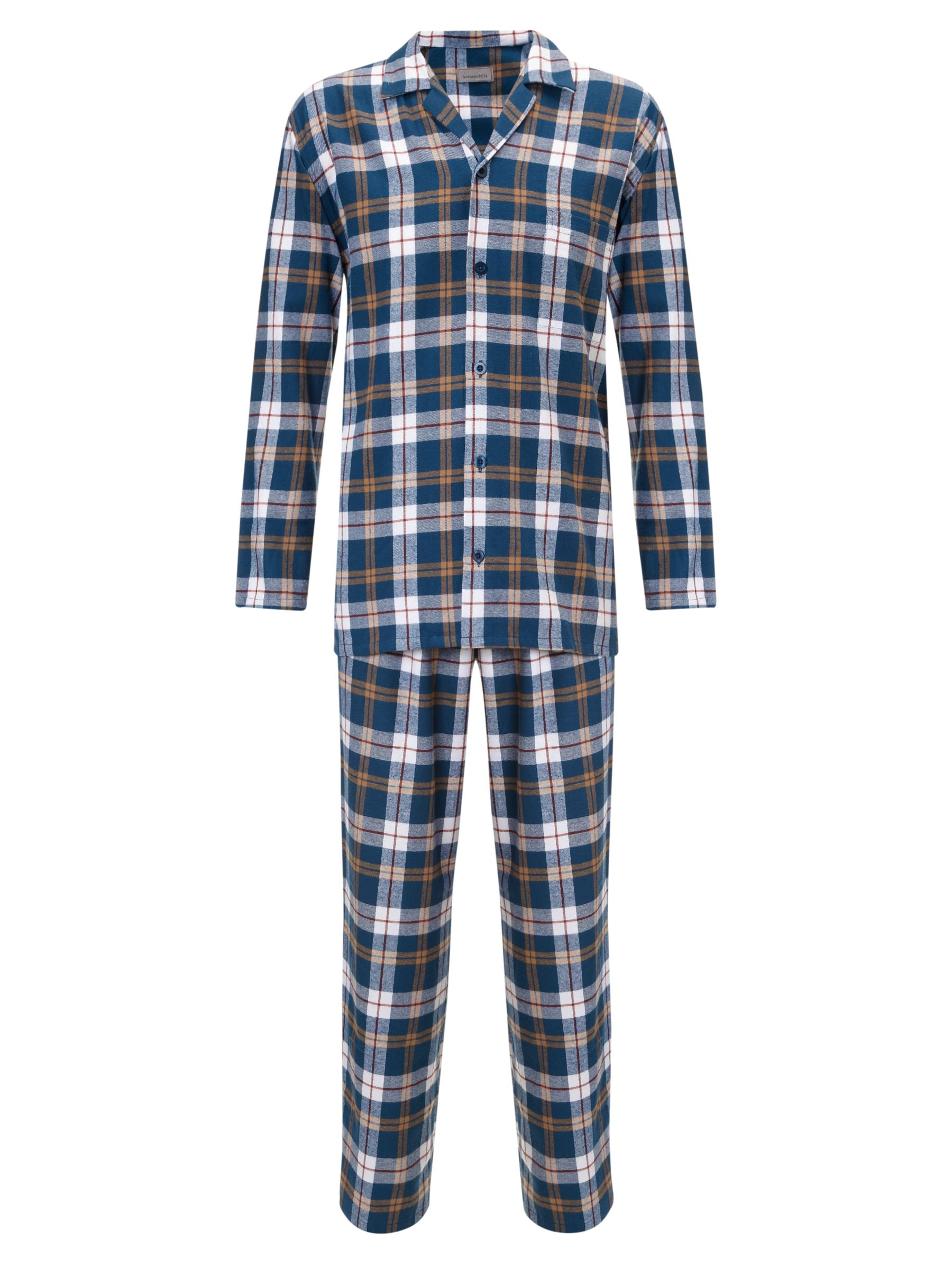 John Lewis Brushed Cotton Check Pyjamas, Navy
