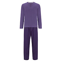 Buy John Lewis Long Sleeve T-Shirt and Gingham Pyjama Pants, Purple Online at johnlewis.com