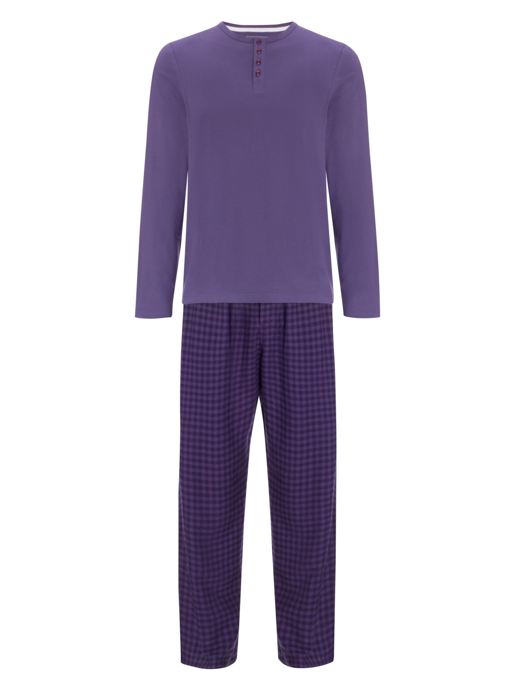 John Lewis Long Sleeve T-Shirt and Gingham Pyjama Pants, Purple