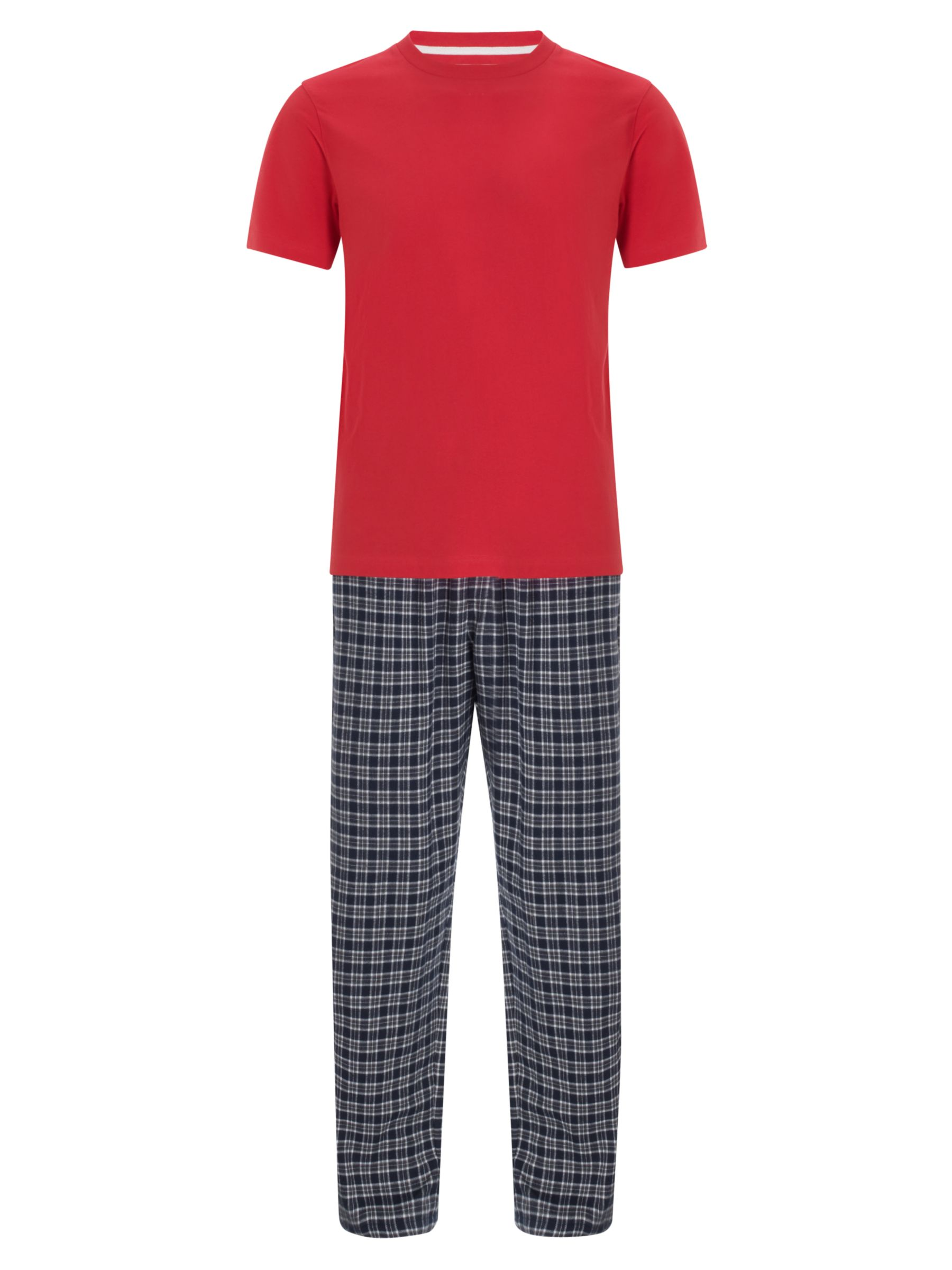 John Lewis Short Sleeve T-Shirt and Brushed Cotton Check Pyjama Pants