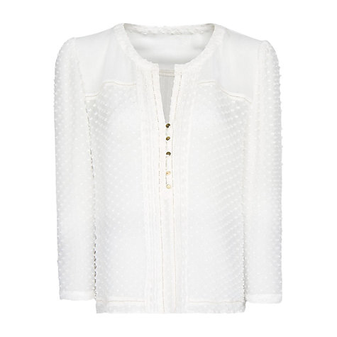 Buy Mango Plumeti Blouse, Off White Online at johnlewis.com
