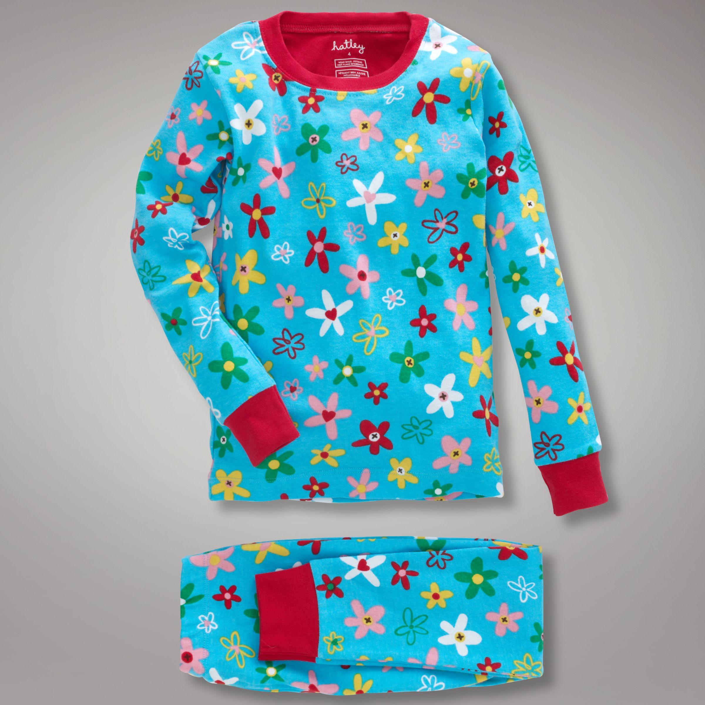 Hatley Crafty Flowers Pyjamas, Blue