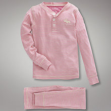 Buy Hatley Girls' Moose Stripe Pyjamas, Pink Online at johnlewis.com