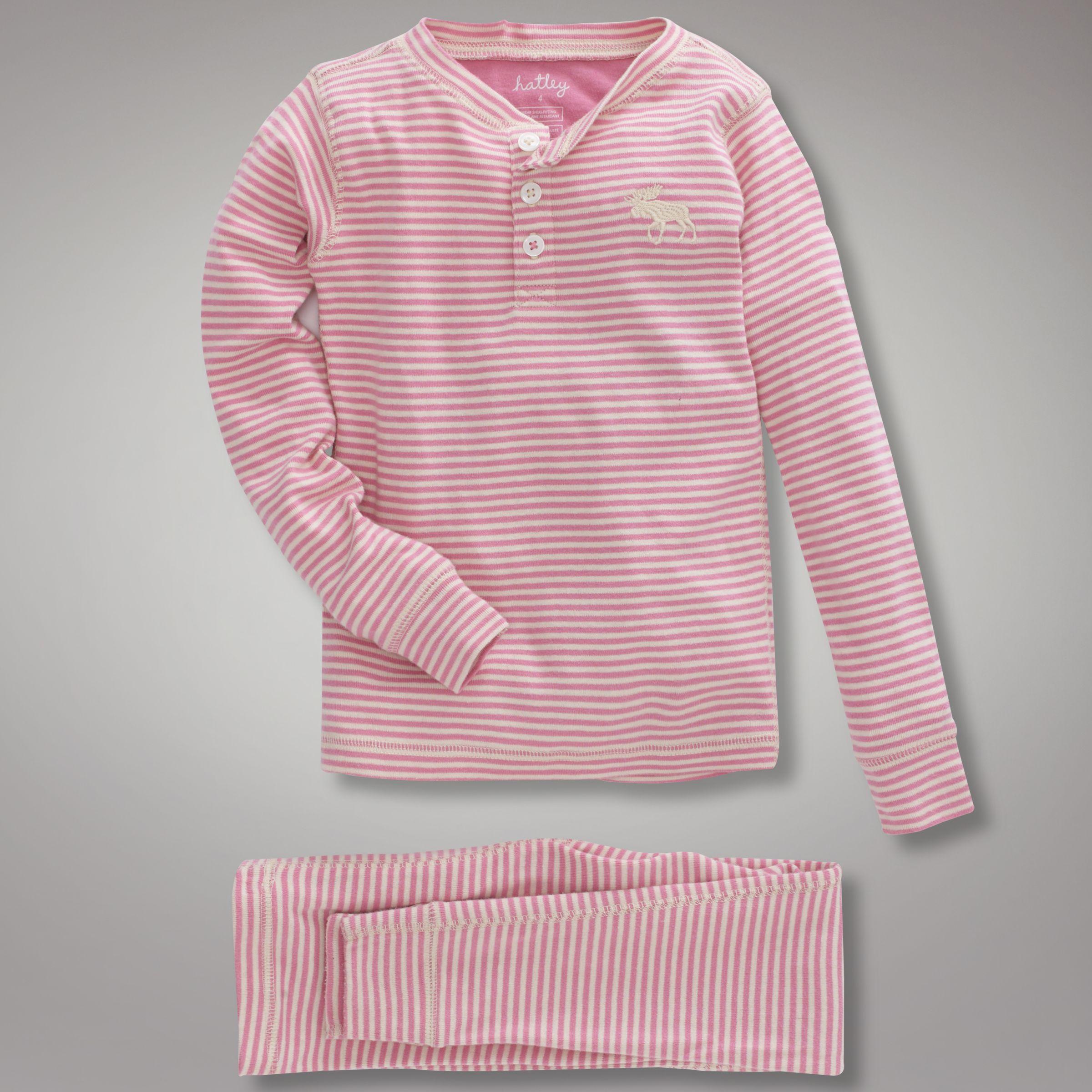 Hatley Moose Stripe Pyjamas, Pink