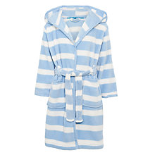 Buy John Lewis Girl Striped Fleece Robe, Blue/White Online at johnlewis.com