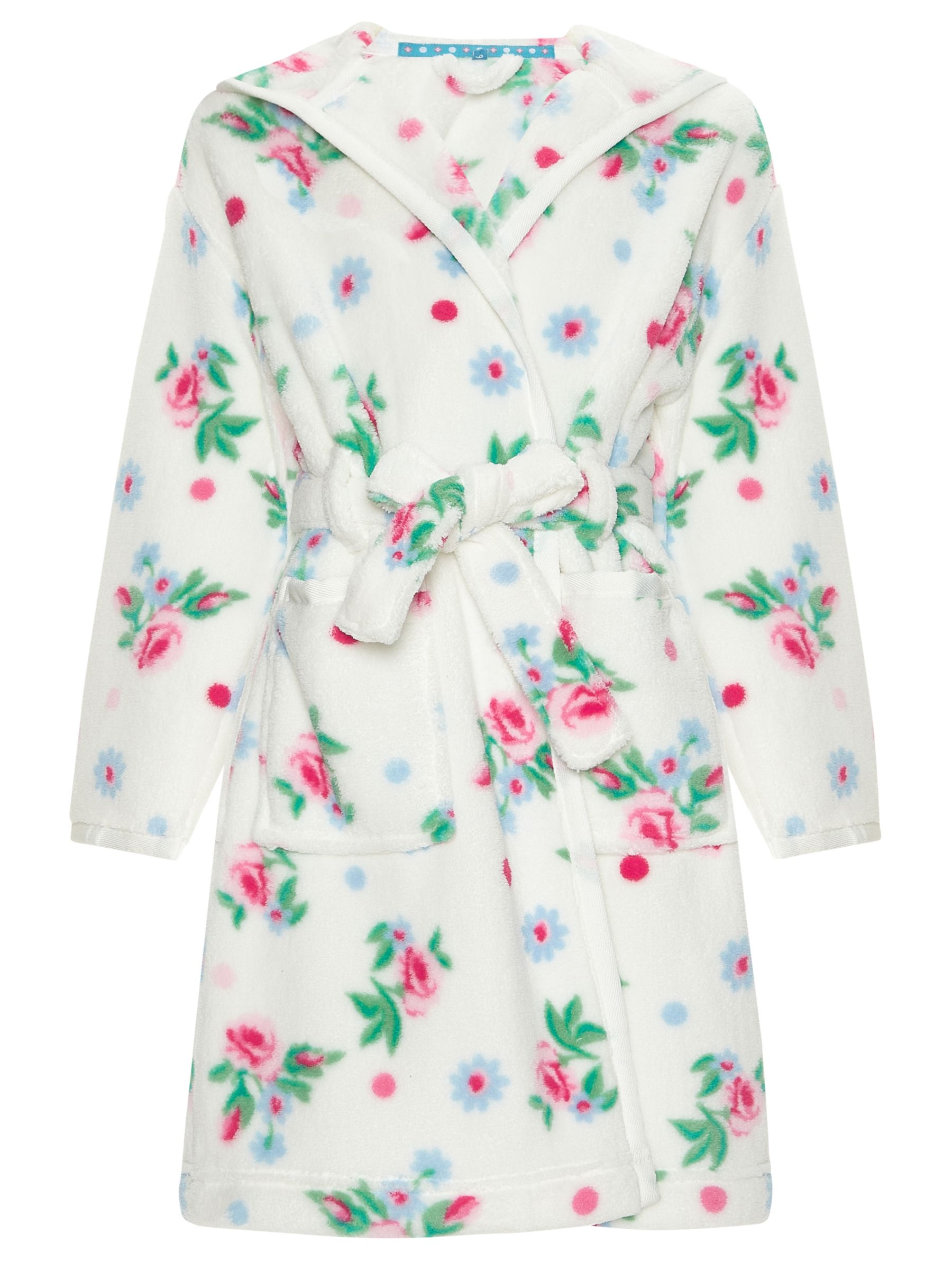 John Lewis Girl Vintage Rose Dressing Gown, Cream
