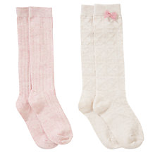 Buy John Lewis Girl Woolly Boot Socks, Pack of 2, Cream/Pink Online at johnlewis.com