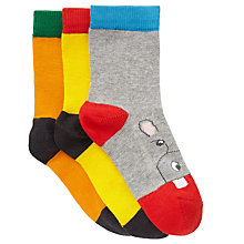 Buy John Lewis Boy Animal Toe Socks, Pack of 3, Multi Online at johnlewis.com