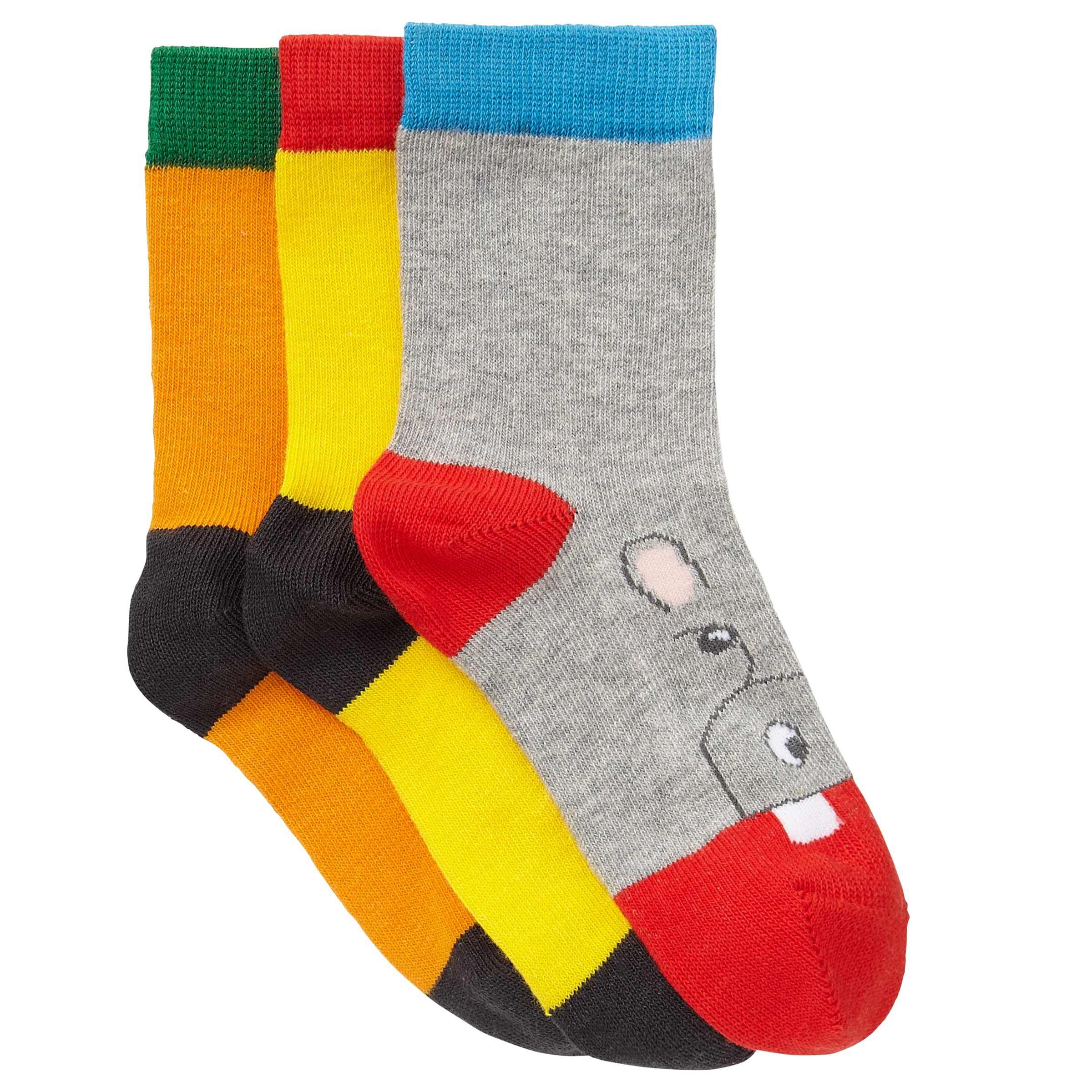 John Lewis Boy Animal Toe Socks, Pack of 3, Multi
