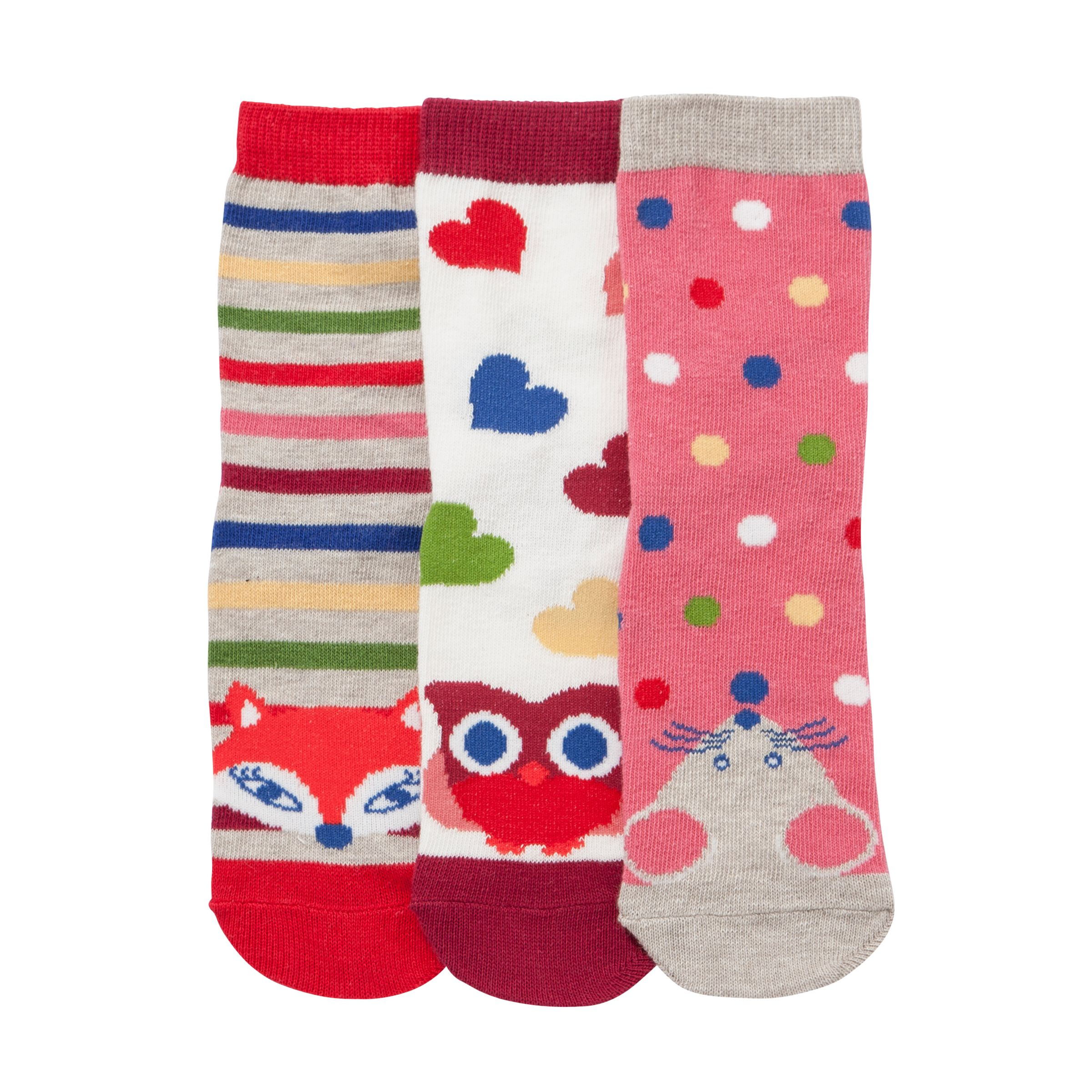 John Lewis Girl Animal Toe Socks, Pack of 3, Multi