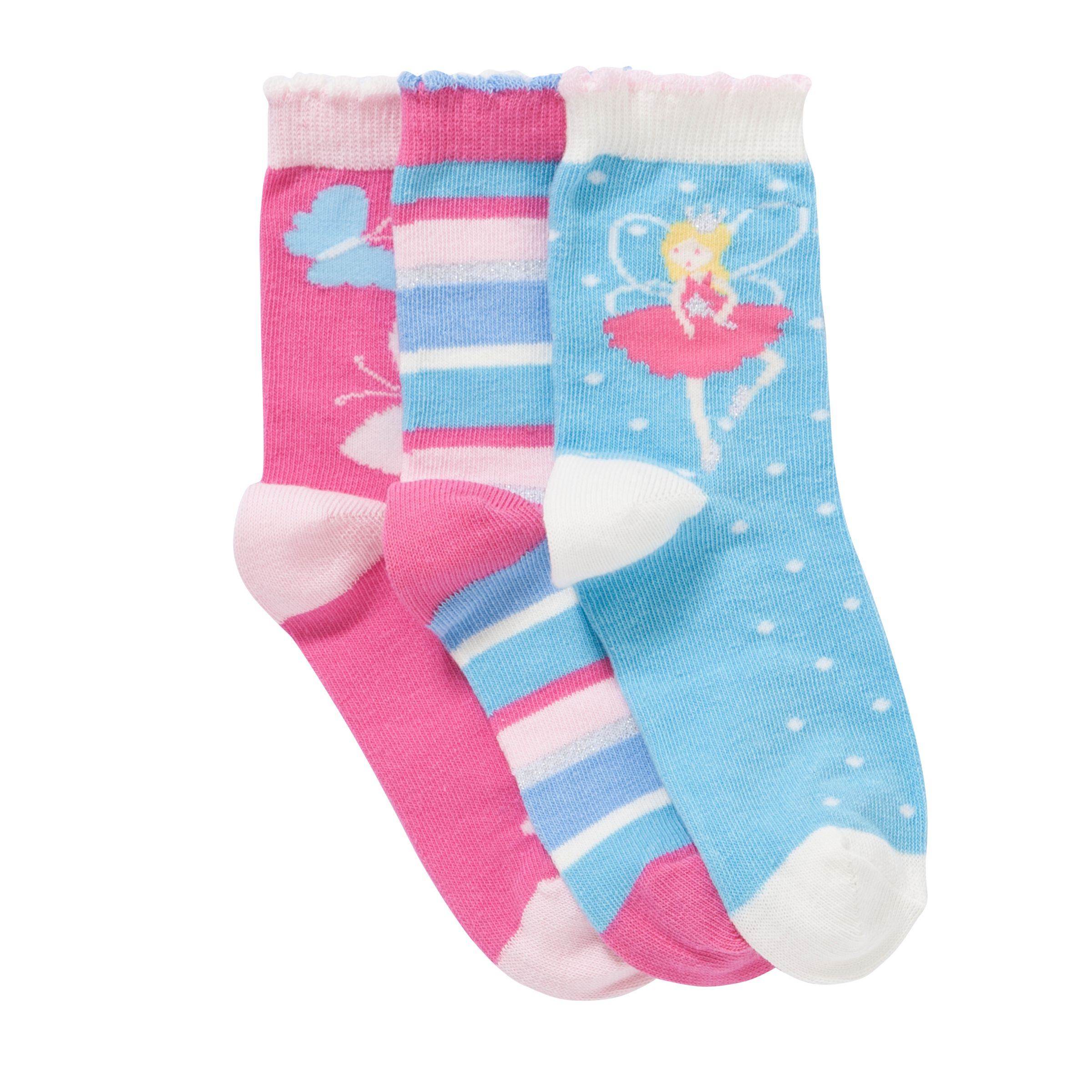 John Lewis Girl Fairy and Butterfly Socks, Pack of 3, Multi