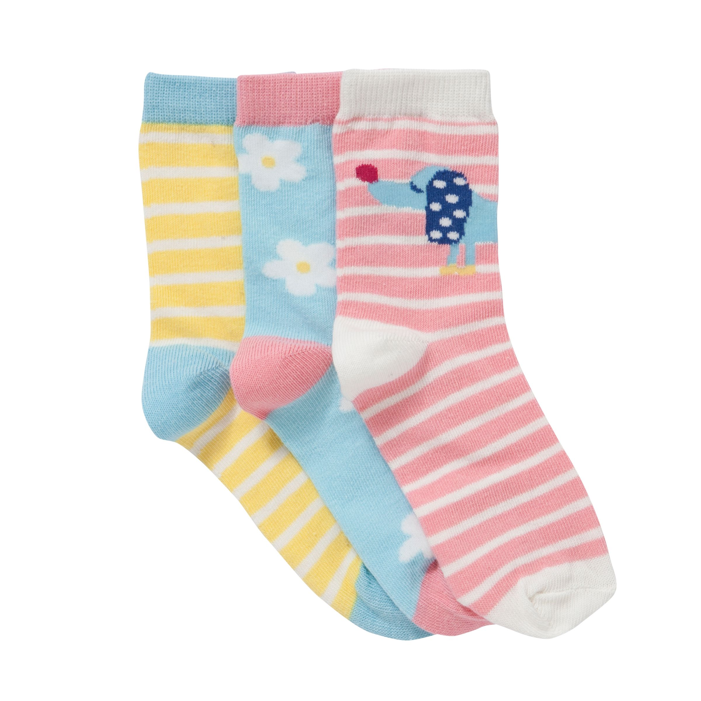 John Lewis Girl Sausage Dog Socks, Pack of 3, Multi