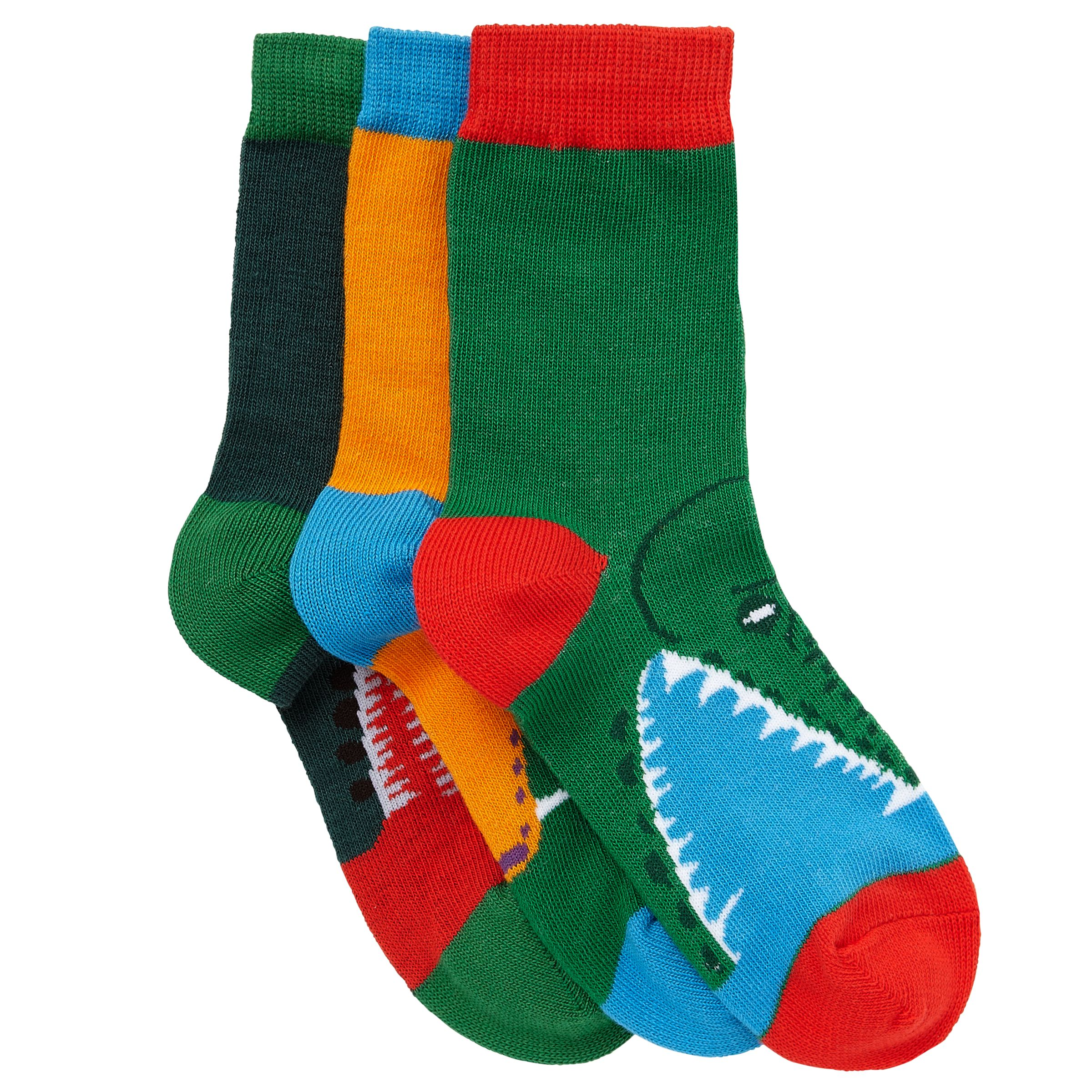 John Lewis Boy Snake and Crocodile Socks, Pack of 3, Multi