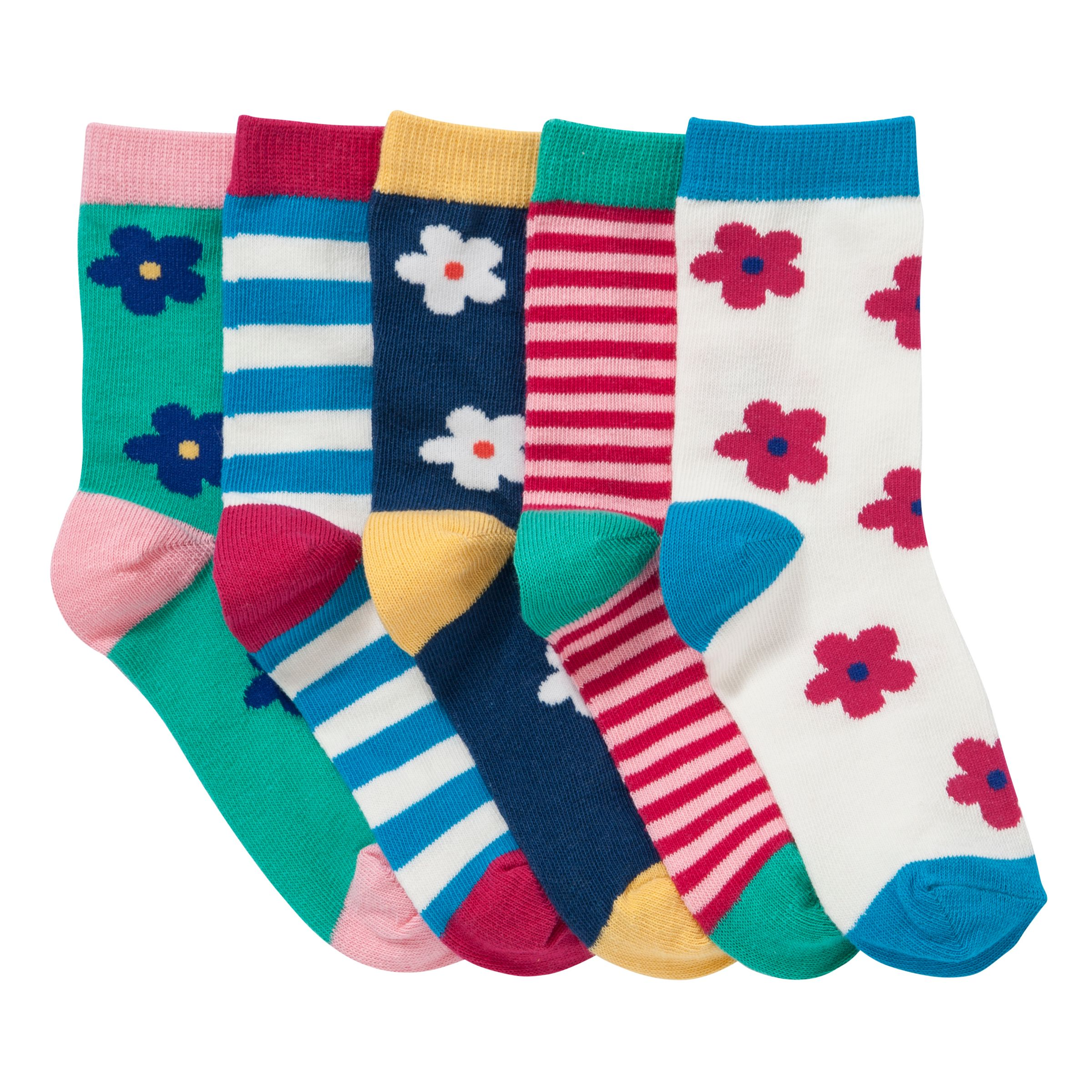 John Lewis Girl Bold Floral Socks, Pack of 5, Multi