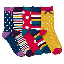 Buy John Lewis Girl Bright Spot and Stripe Socks, Pack of 5, Multi Online at johnlewis.com