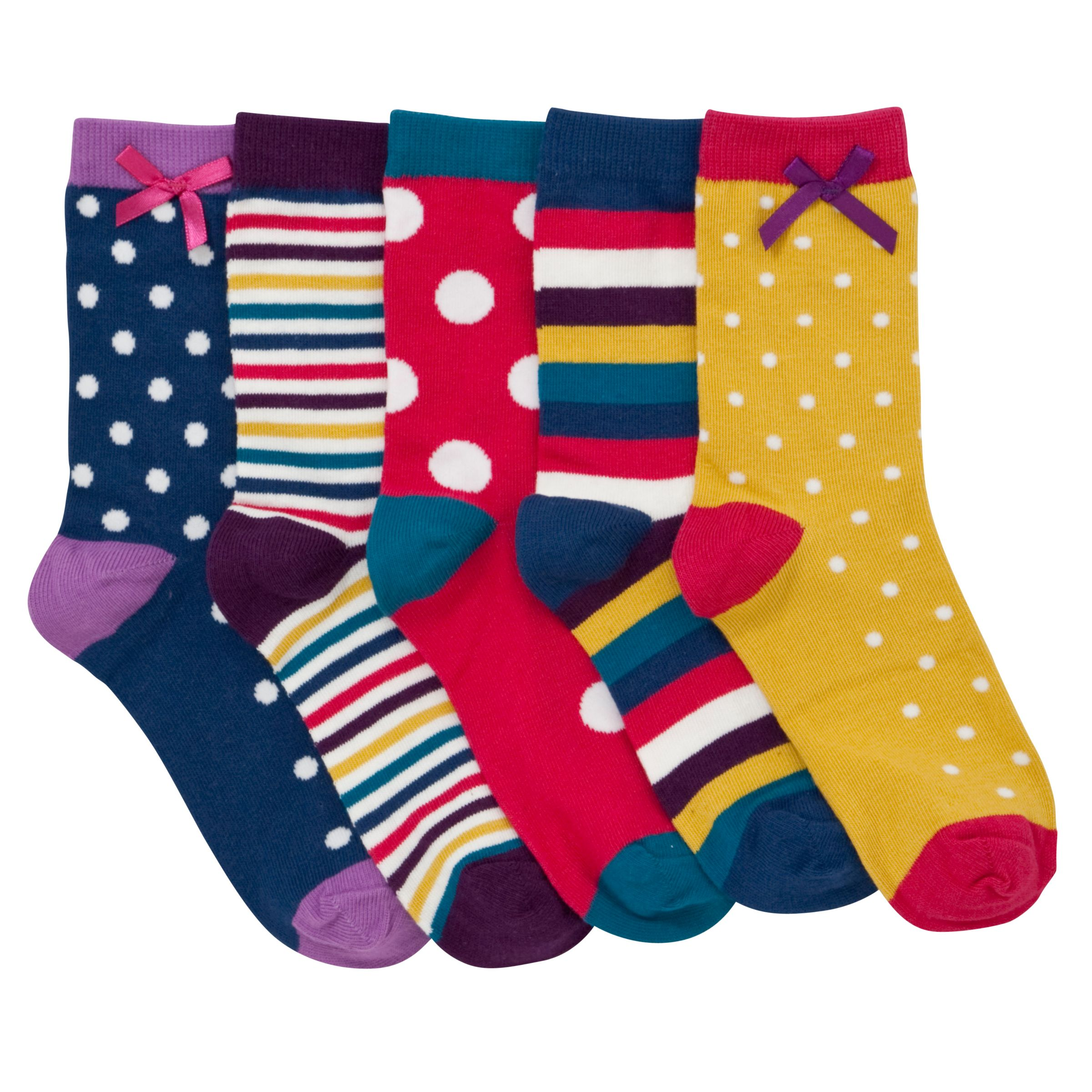 John Lewis Girl Bright Spot and Stripe Socks, Pack of 5, Multi