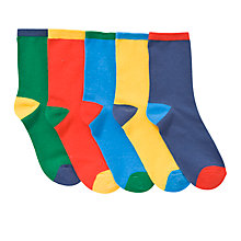 Buy John Lewis Boy Contrast Heel Socks, Pack of 5, Multi Online at johnlewis.com