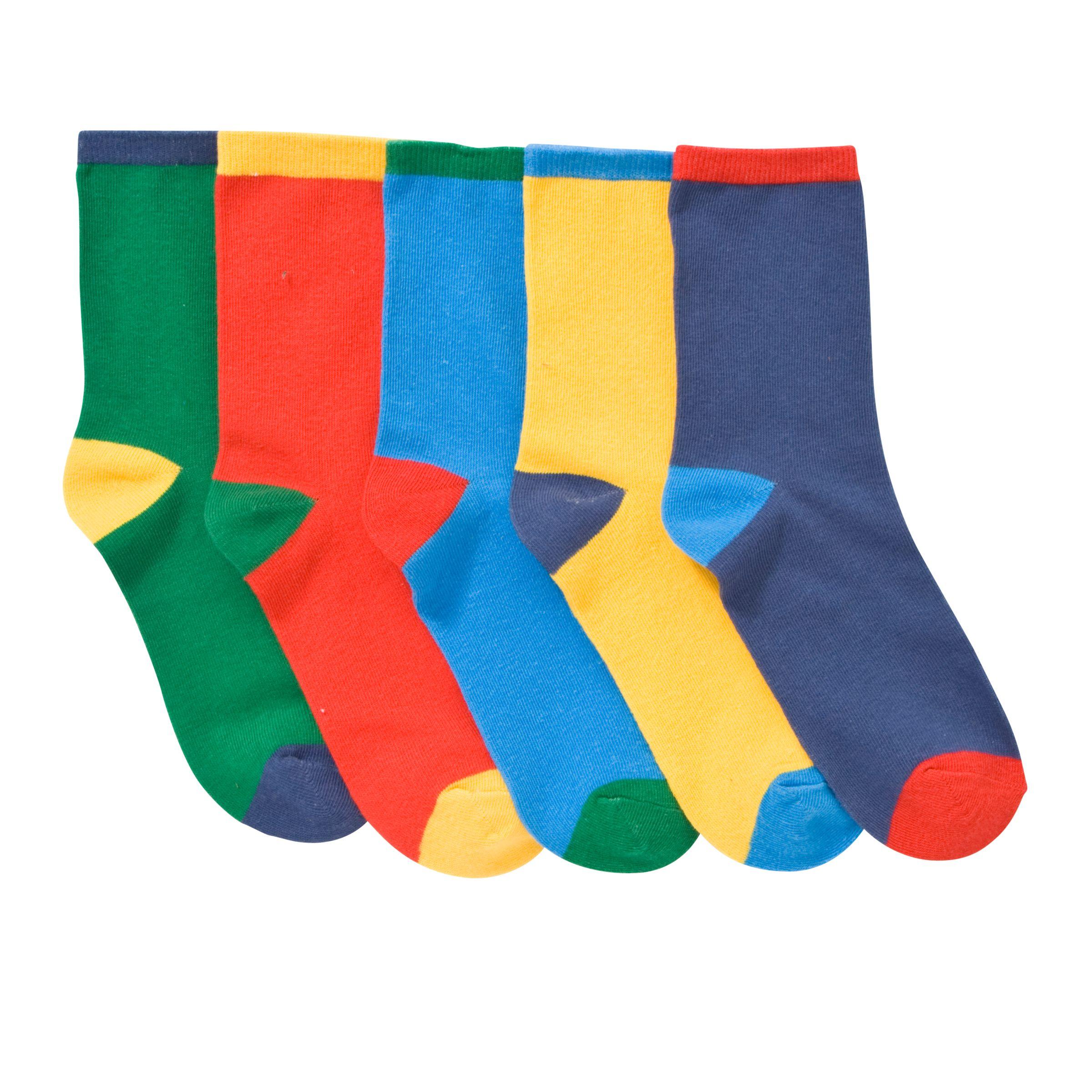 John Lewis Boy Contrast Heel Socks, Pack of 5, Multi